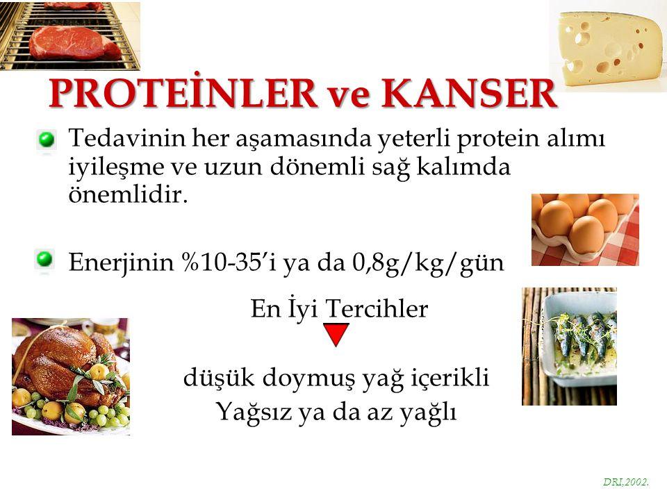 PROTEİNLER ve KANSER Tedavinin her aşamasında yeterli protein alımı iyileşme ve uzun dönemli sağ kalımda önemlidir.
