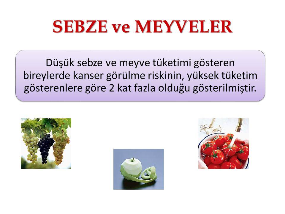 SEBZE ve MEYVELER Düşük sebze ve meyve tüketimi gösteren bireylerde kanser görülme riskinin, yüksek tüketim gösterenlere göre 2 kat fazla olduğu gösterilmiştir.