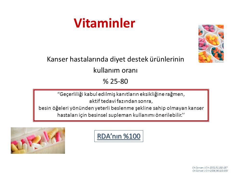 Vitaminler Kanser hastalarında diyet destek ürünlerinin kullanım oranı % 25-80 Geçerliliği kabul edilmiş kanıtların eksikliğine rağmen, aktif tedavi fazından sonra, besin öğeleri yönünden yeterli beslenme şekline sahip olmayan kanser hastaları için besinsel supleman kullanımı önerilebilir.'' RDA'nın %100 CA Cancer J Clin 2001;51;182-187 CA Cancer J Clin 2006;56:323-353