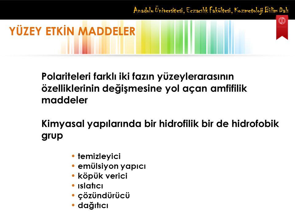 Anadolu Üniversitesi, Eczacılık Fakültesi, Kozmetoloji Bilim Dalı YÜZEY ETKİN MADDELER Polariteleri farklı iki fazın yüzeylerarasının özelliklerinin d
