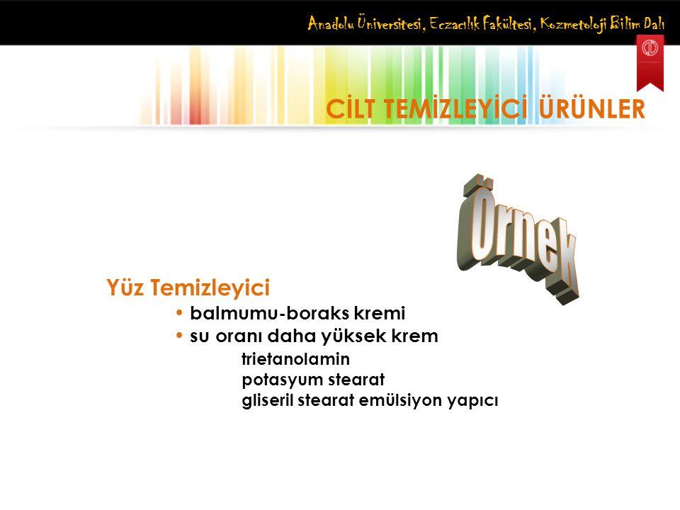 Anadolu Üniversitesi, Eczacılık Fakültesi, Kozmetoloji Bilim Dalı CİLT TEMİZLEYİCİ ÜRÜNLER Yüz Temizleyici balmumu-boraks kremi su oranı daha yüksek k