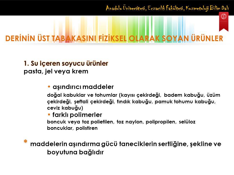 Anadolu Üniversitesi, Eczacılık Fakültesi, Kozmetoloji Bilim Dalı DERİNİN ÜST TABAKASINI FİZİKSEL OLARAK SOYAN ÜRÜNLER