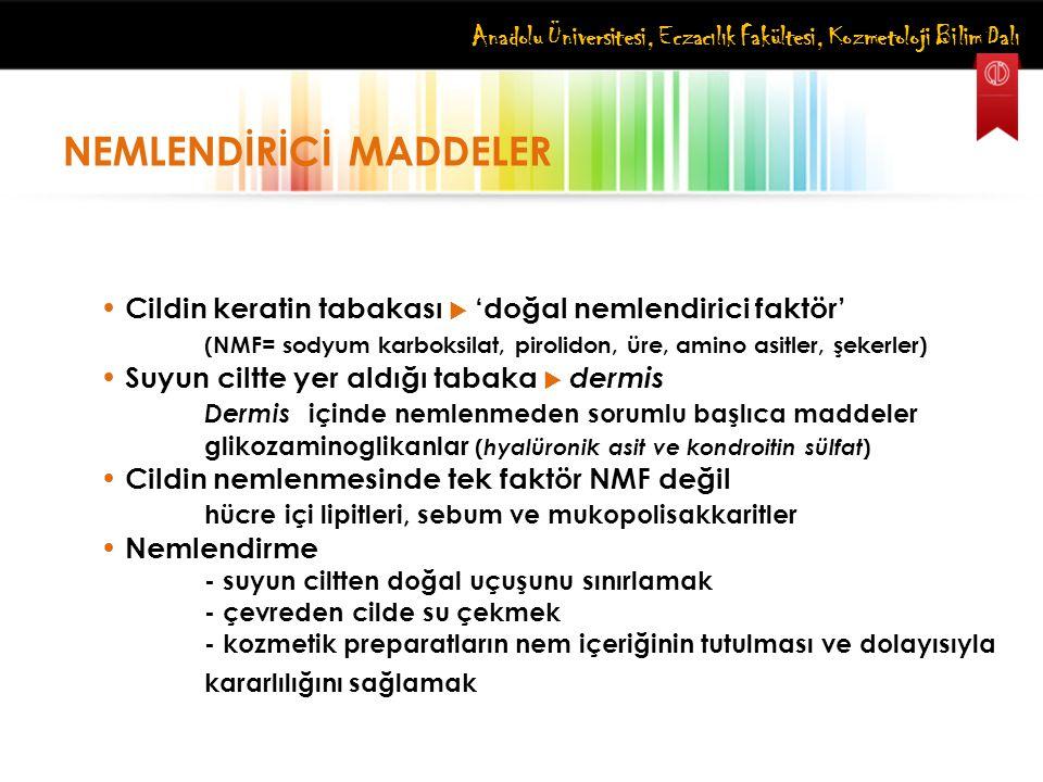 Anadolu Üniversitesi, Eczacılık Fakültesi, Kozmetoloji Bilim Dalı NEMLENDİRİCİ MADDELER Cildin keratin tabakası  'doğal nemlendirici faktör' (NMF= so
