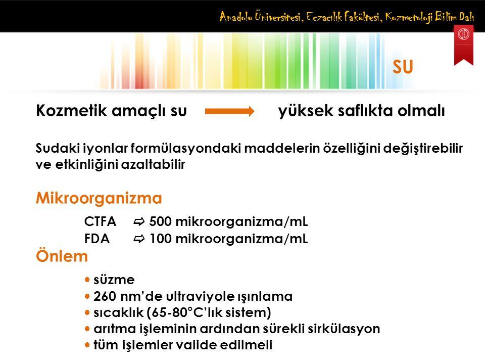 Anadolu Üniversitesi, Eczacılık Fakültesi, Kozmetoloji Bilim Dalı SU Kozmetik amaçlı su yüksek saflıkta olmalı Sudaki iyonlar formülasyondaki maddeler