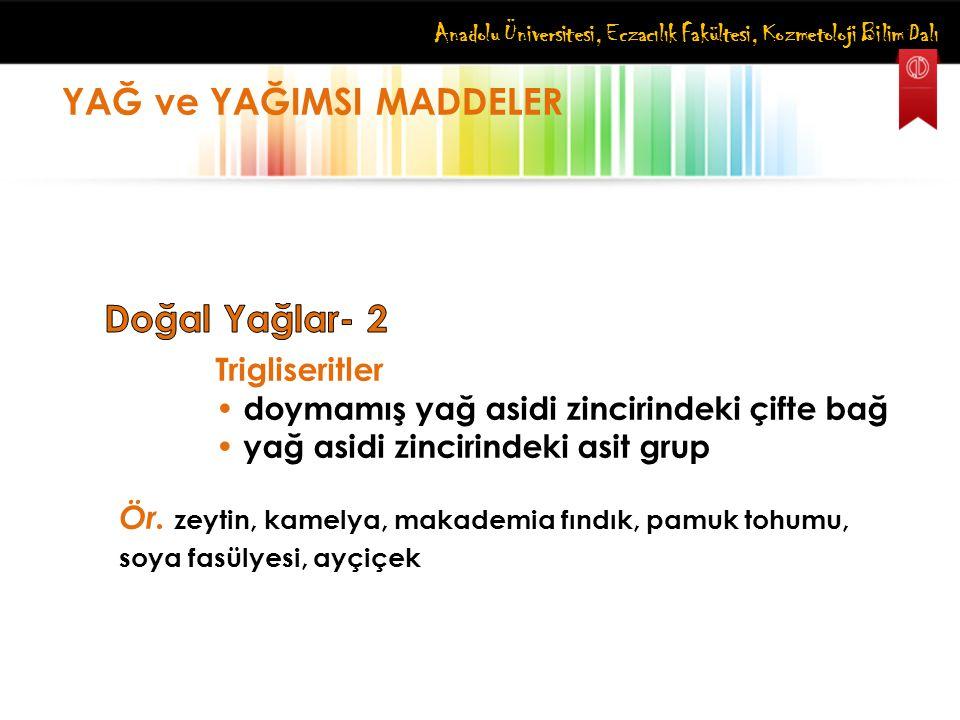 Anadolu Üniversitesi, Eczacılık Fakültesi, Kozmetoloji Bilim Dalı YAĞ ve YAĞIMSI MADDELER Trigliseritler doymamış yağ asidi zincirindeki çifte bağ yağ