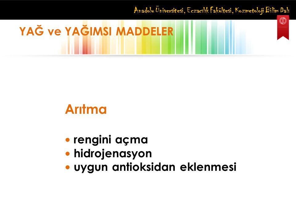 Anadolu Üniversitesi, Eczacılık Fakültesi, Kozmetoloji Bilim Dalı YAĞ ve YAĞIMSI MADDELER Arıtma rengini açma hidrojenasyon uygun antioksidan eklenmes