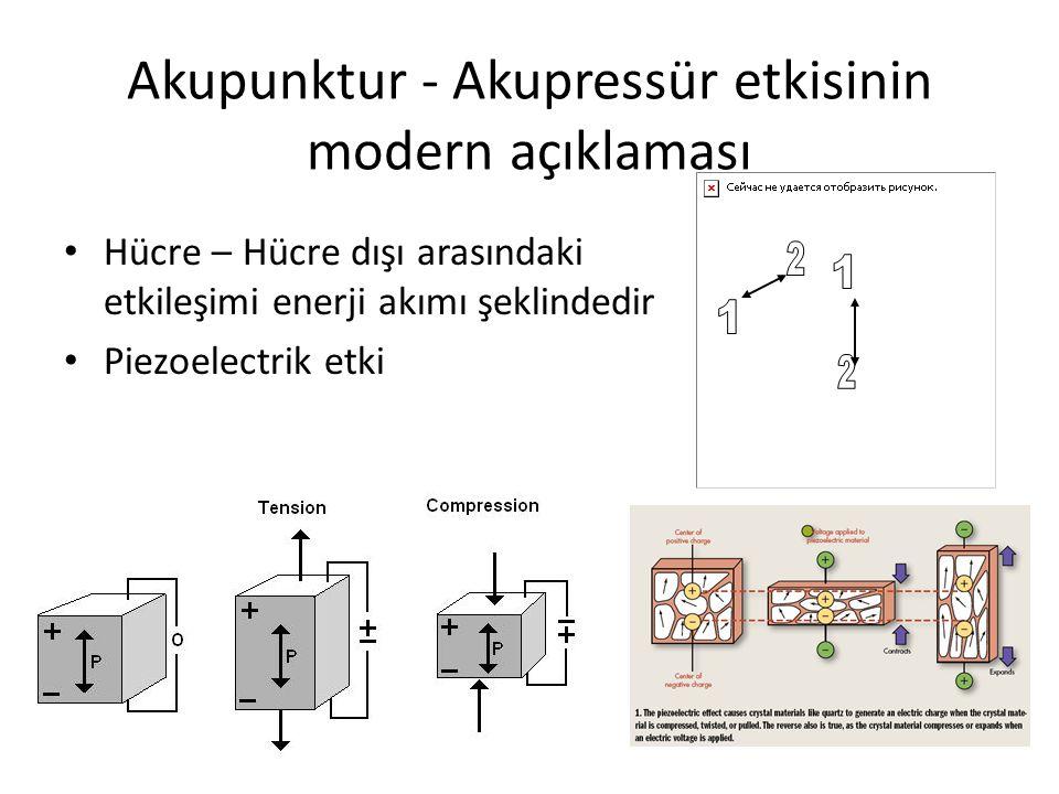 Akupunktur - Akupressür etkisinin modern açıklaması Hücre – Hücre dışı arasındaki etkileşimi enerji akımı şeklindedir Piezoelectrik etki