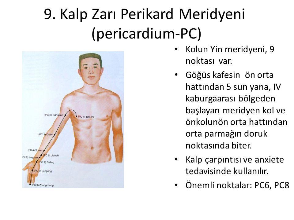 9. Kalp Zarı Perikard Meridyeni (pericardium-PC) Kolun Yin meridyeni, 9 noktası var. Göğüs kafesin ön orta hattından 5 sun yana, IV kaburgaarası bölge