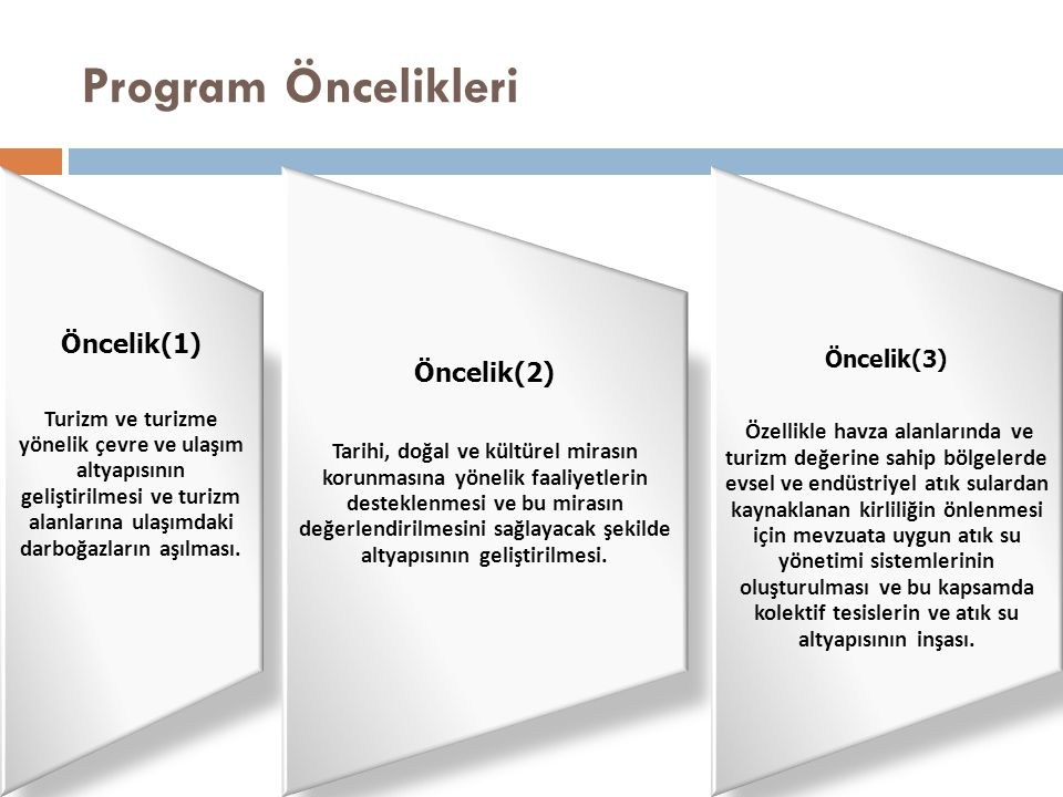 Program Öncelikleri Öncelik(1) Turizm ve turizme yönelik çevre ve ulaşım altyapısının geliştirilmesi ve turizm alanlarına ulaşımdaki darboğazların aşı