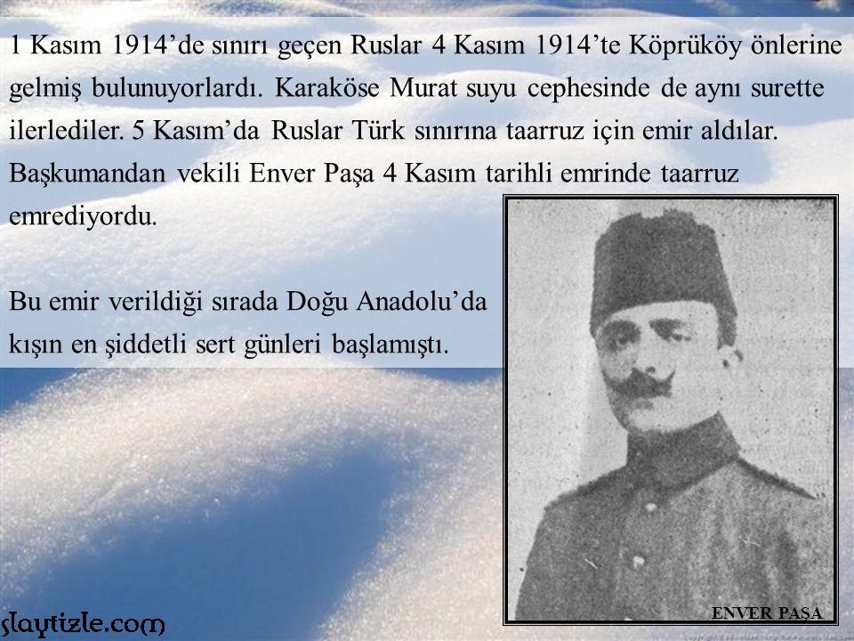 1 Kasım 1914'de sınırı geçen Ruslar 4 Kasım 1914'te Köprüköy önlerine gelmiş bulunuyorlardı.