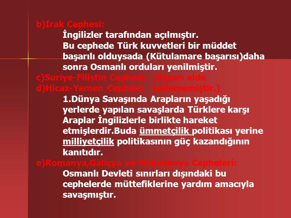 a)Çanakkale Cephesi: Açılma Nedenleri: -Ekonomik bunalımda olan Rusya'ya yardım götürmek -Boğazları ele geçirip Osmanlıyı savaş dışı bırakmak -Balkanl