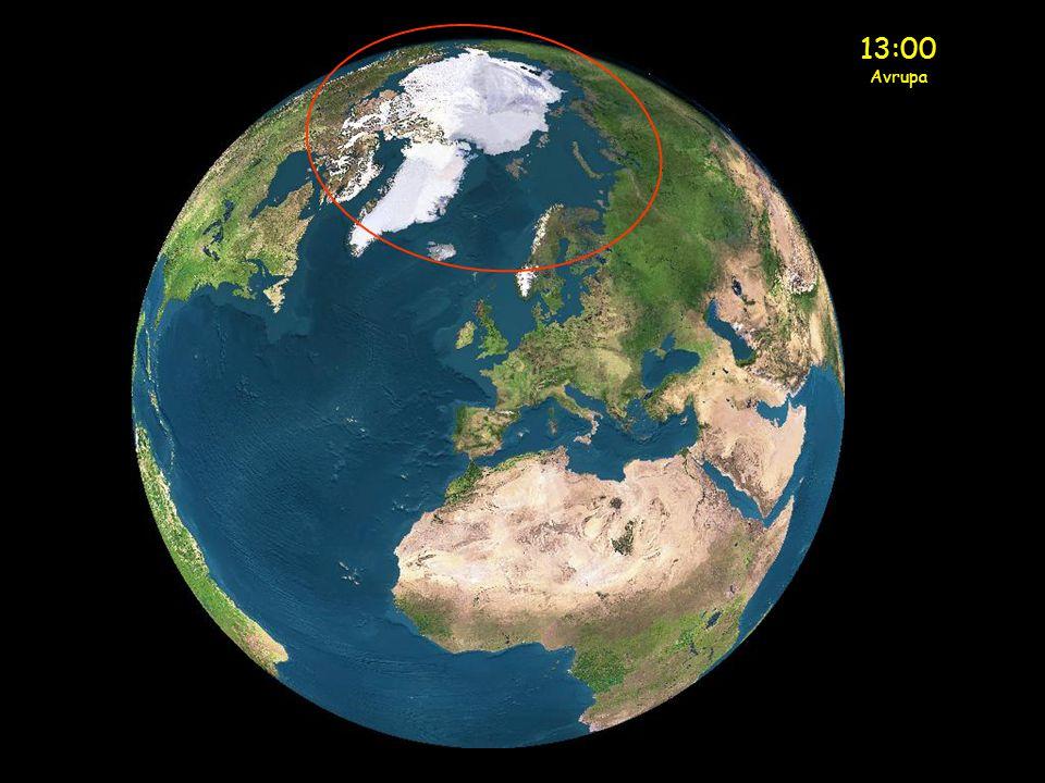 Gece Yarısı Avrupa Güneş şimdi İskandinavyanın kuzey kısmında (sarı çember)
