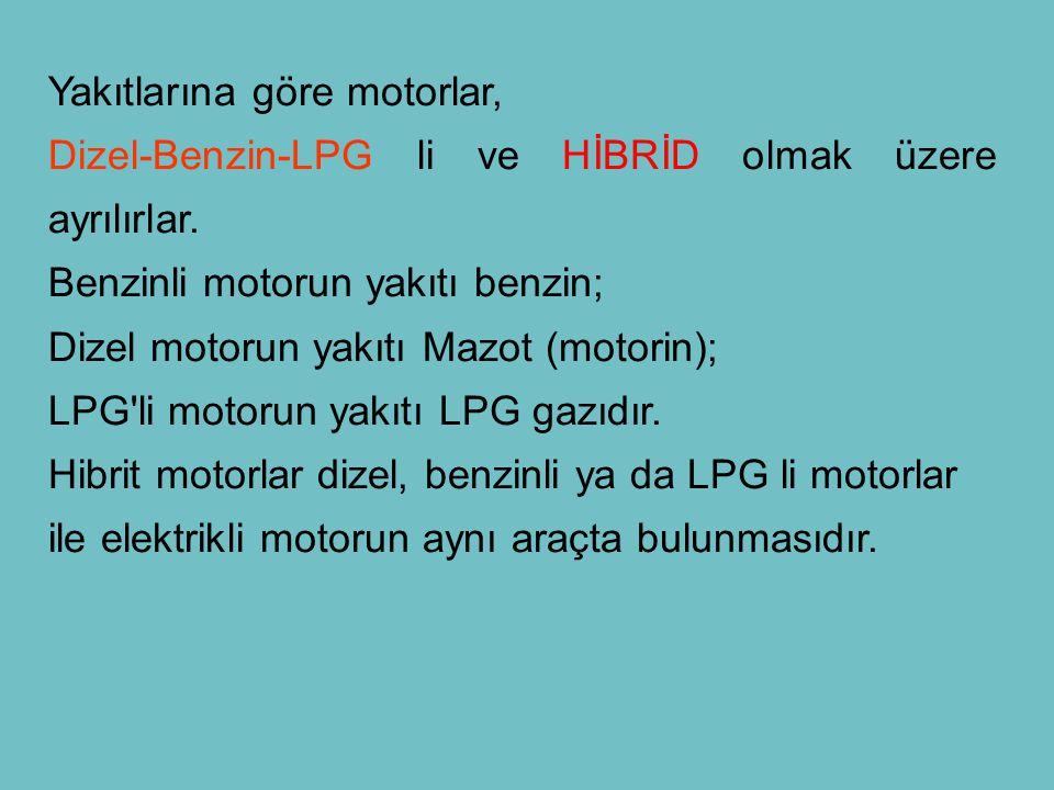 Yakıtlarına göre motorlar, Dizel-Benzin-LPG li ve HİBRİD olmak üzere ayrılırlar. Benzinli motorun yakıtı benzin; Dizel motorun yakıtı Mazot (motorin);