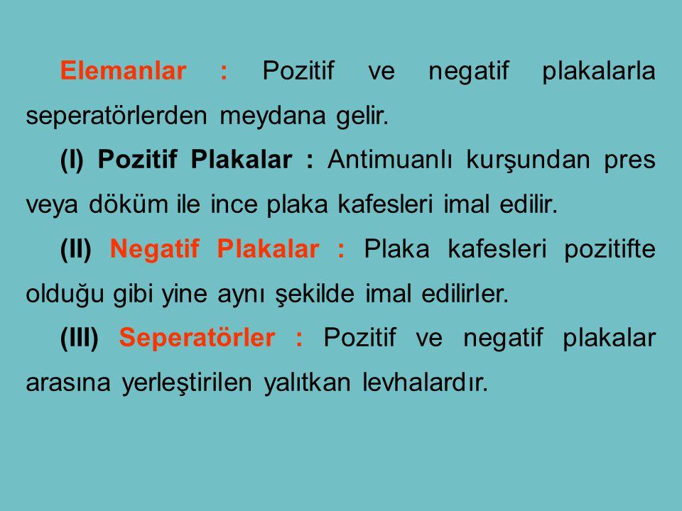 Elemanlar : Pozitif ve negatif plakalarla seperatörlerden meydana gelir. (I) Pozitif Plakalar : Antimuanlı kurşundan pres veya döküm ile ince plaka ka