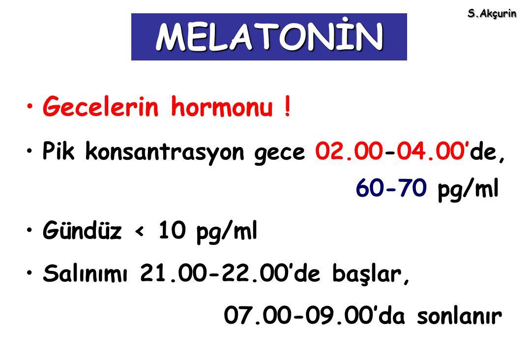 Gecelerin hormonu ! Pik konsantrasyon gece 02.00-04.00'de, 60-70 pg/ml Gündüz < 10 pg/ml Salınımı 21.00-22.00'de başlar, 07.00-09.00'da sonlanır MELAT