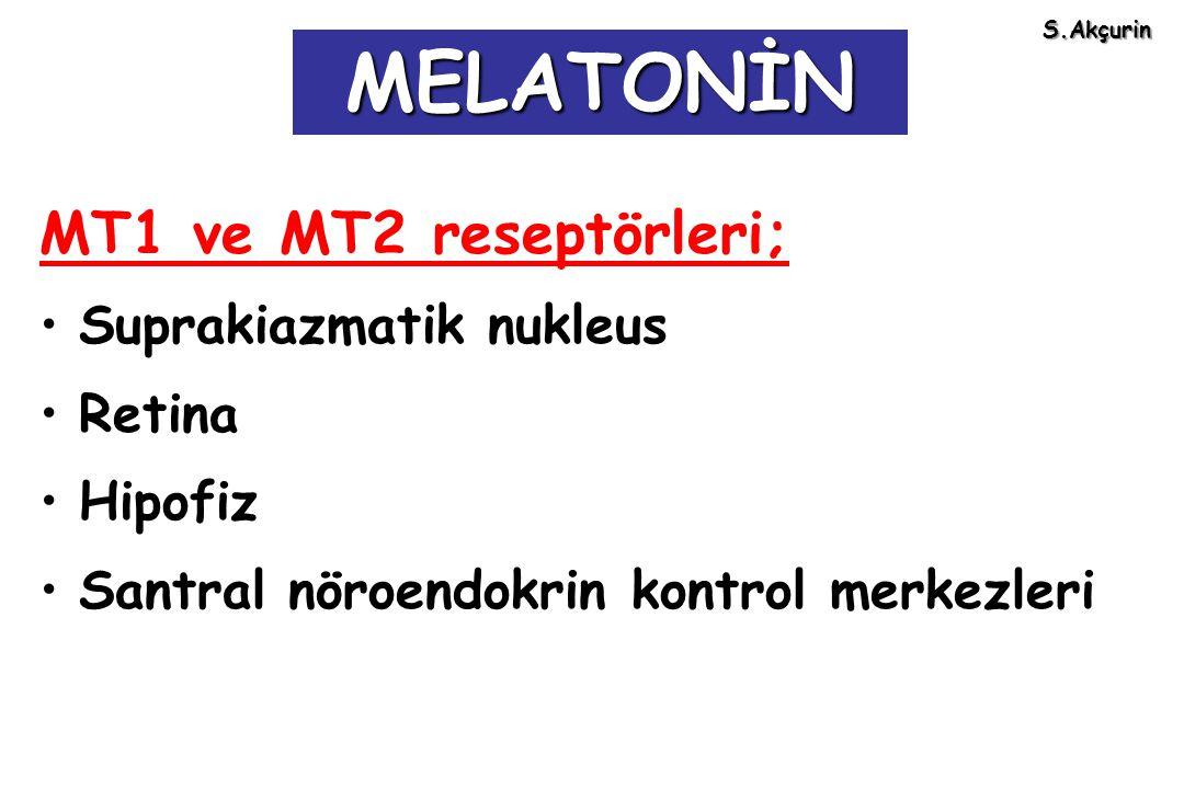 MT1 ve MT2 reseptörleri; Suprakiazmatik nukleus Retina Hipofiz Santral nöroendokrin kontrol merkezleri MELATONİN S.Akçurin