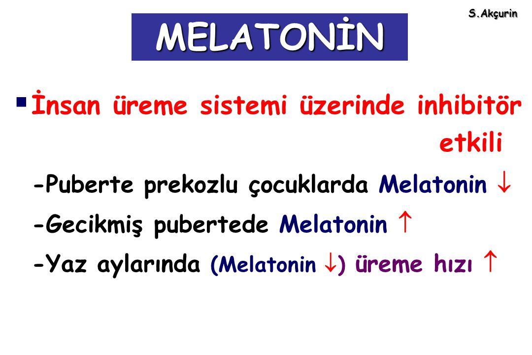  İnsan üreme sistemi üzerinde inhibitör etkili -Puberte prekozlu çocuklarda Melatonin  -Gecikmiş pubertede Melatonin  -Yaz aylarında (Melatonin  )