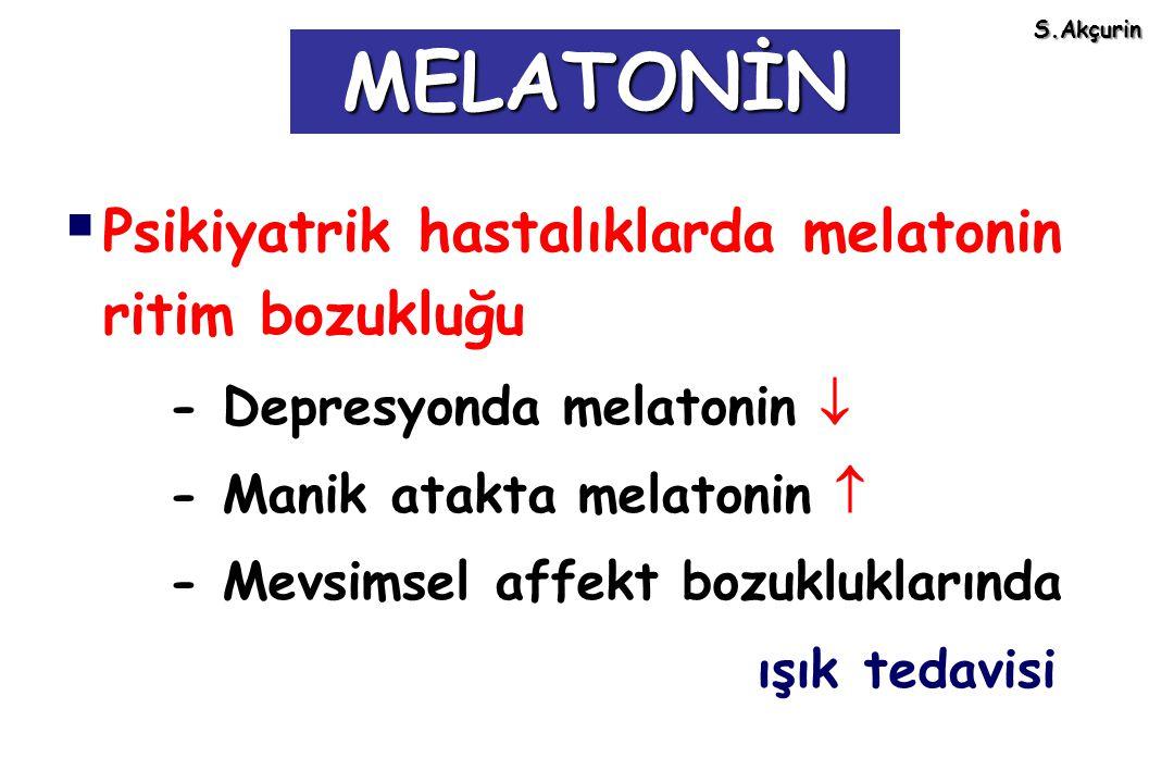  Psikiyatrik hastalıklarda melatonin ritim bozukluğu - Depresyonda melatonin  - Manik atakta melatonin  - Mevsimsel affekt bozukluklarında ışık ted