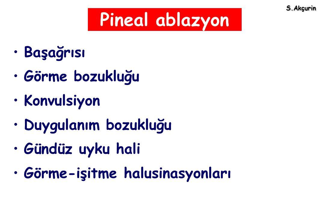 Pineal ablazyon Başağrısı Görme bozukluğu Konvulsiyon Duygulanım bozukluğu Gündüz uyku hali Görme-işitme halusinasyonları S.Akçurin