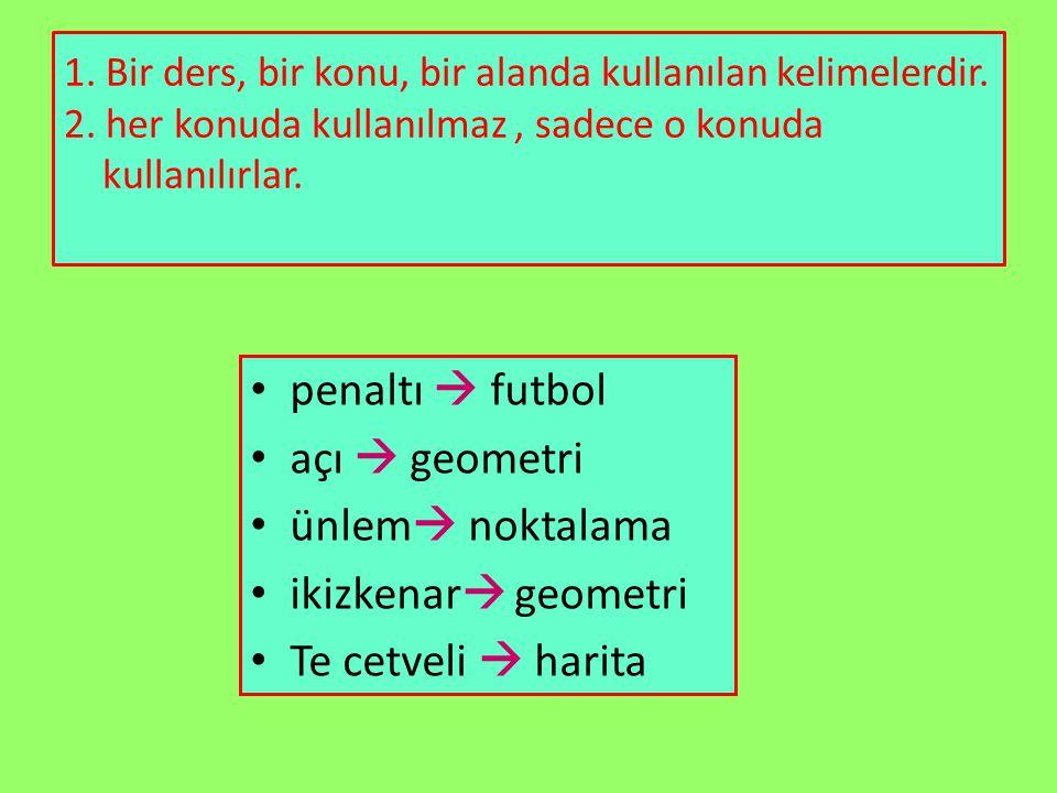 1. Bir ders, bir konu, bir alanda kullanılan kelimelerdir. 2. her konuda kullanılmaz, sadece o konuda kullanılırlar. penaltı  futbol açı  geometri ü