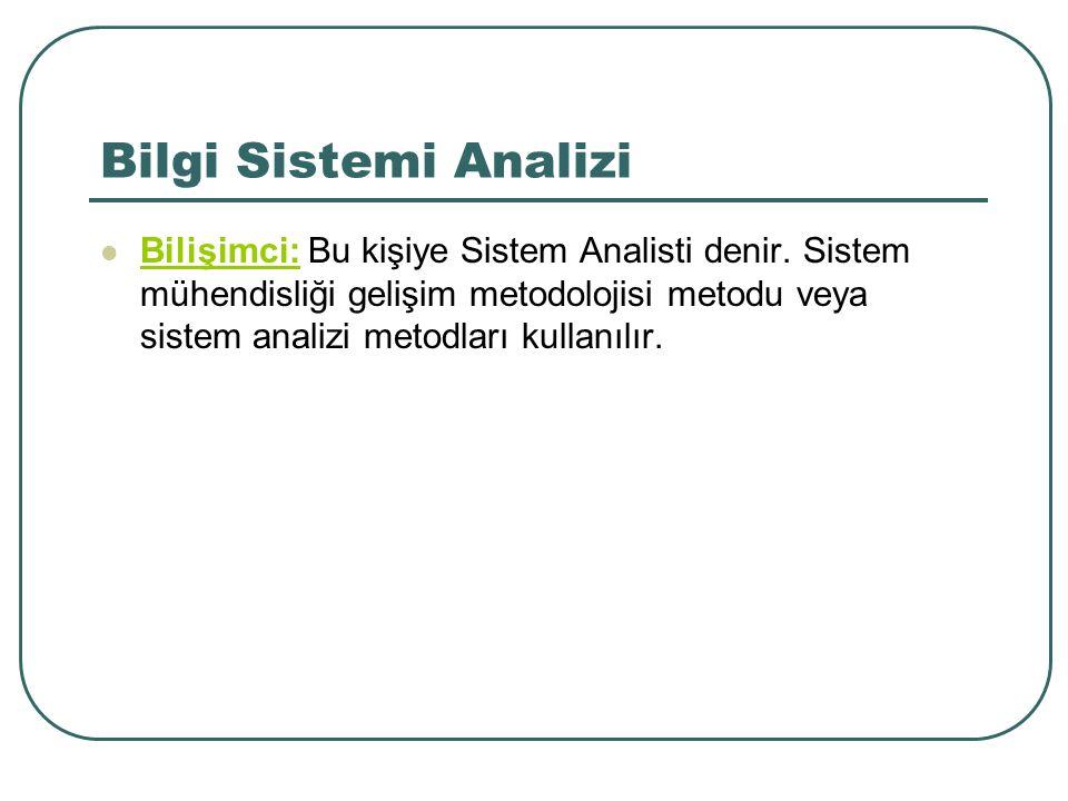 Bilgi Sistemi Analizi Bilişimci: Bu kişiye Sistem Analisti denir. Sistem mühendisliği gelişim metodolojisi metodu veya sistem analizi metodları kullan
