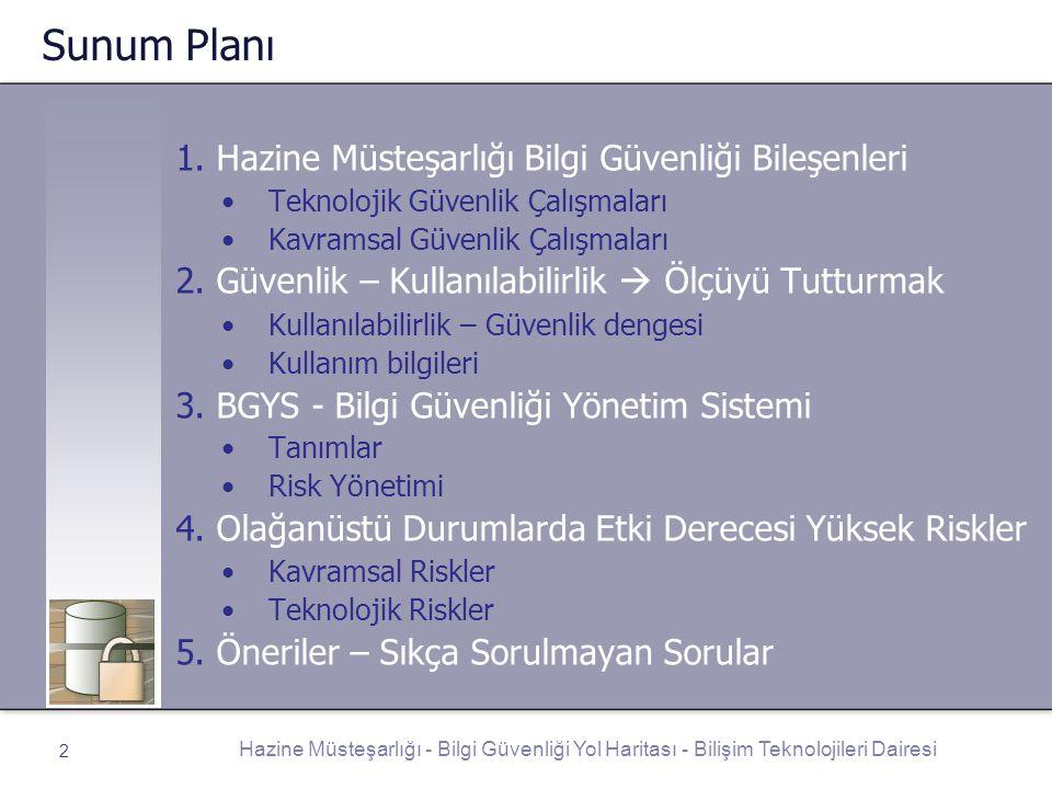 Hazine Müsteşarlığı - Bilgi Güvenliği Yol Haritası - Bilişim Teknolojileri Dairesi 2 Sunum Planı 1. Hazine Müsteşarlığı Bilgi Güvenliği Bileşenleri Te