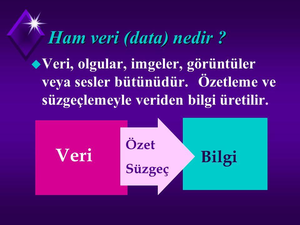 Bilgi (information) nedir ? u Belirli bir görev ve amaç için biçim ve içeriği uygun olan veridir. Bilgi ham veriden üretilir.