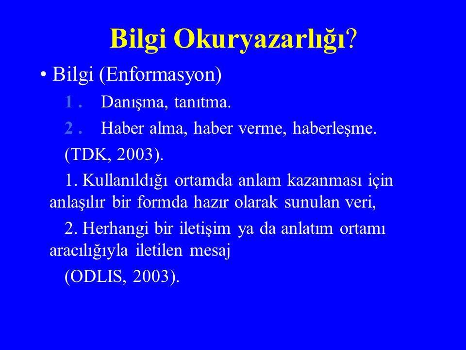 Bilgi Okuryazarlığı? Bilgi (Enformasyon) 1. Danışma, tanıtma. 2. Haber alma, haber verme, haberleşme. (TDK, 2003). 1. Kullanıldığı ortamda anlam kazan
