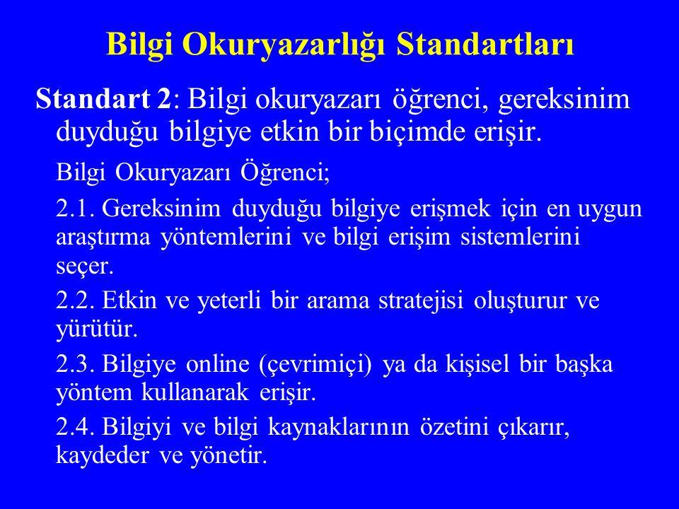 Bilgi Okuryazarlığı Standartları Standart 2: Bilgi okuryazarı öğrenci, gereksinim duyduğu bilgiye etkin bir biçimde erişir. Bilgi Okuryazarı Öğrenci;