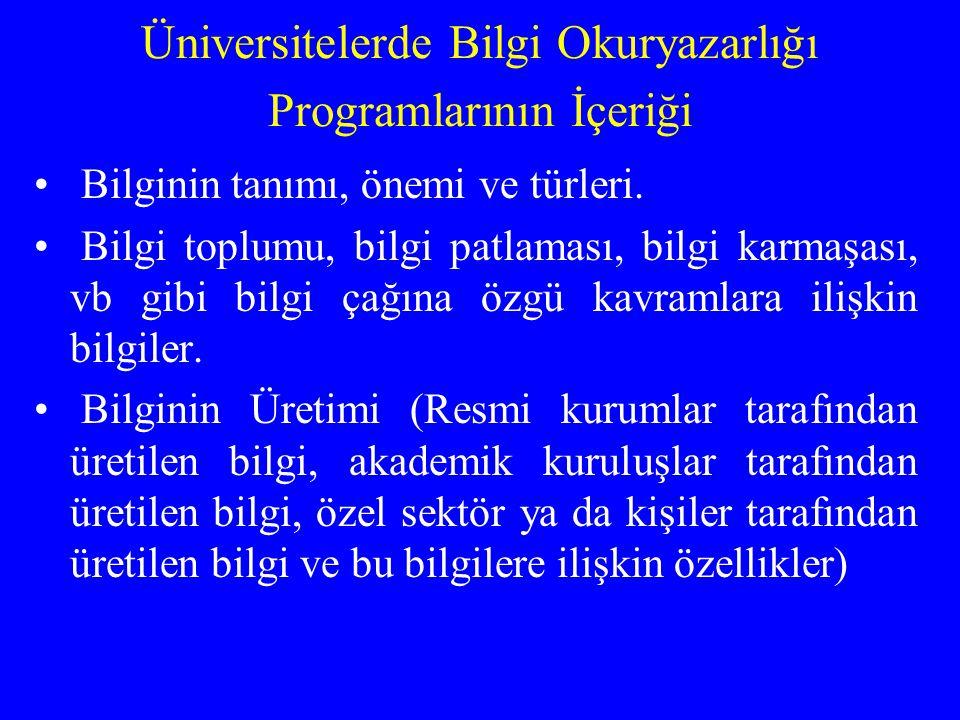 Üniversitelerde Bilgi Okuryazarlığı Programlarının İçeriği Bilginin tanımı, önemi ve türleri. Bilgi toplumu, bilgi patlaması, bilgi karmaşası, vb gibi