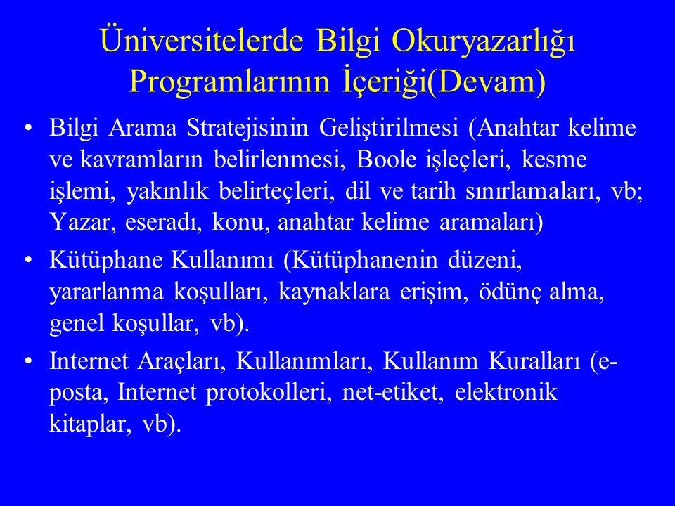 Üniversitelerde Bilgi Okuryazarlığı Programlarının İçeriği(Devam) Bilgi Arama Stratejisinin Geliştirilmesi (Anahtar kelime ve kavramların belirlenmesi