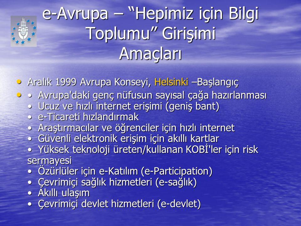 """e-Avrupa – """"Hepimiz için Bilgi Toplumu"""" Girişimi Amaçları Aralık 1999 Avrupa Konseyi, Helsinki –Başlangıç Aralık 1999 Avrupa Konseyi, Helsinki –Başlan"""
