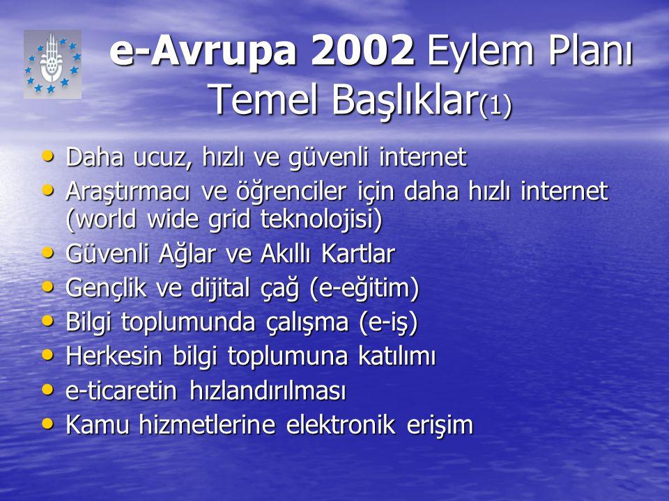 e-Avrupa 2002 Eylem Planı Temel Başlıklar (1) e-Avrupa 2002 Eylem Planı Temel Başlıklar (1) Daha ucuz, hızlı ve güvenli internet Daha ucuz, hızlı ve g