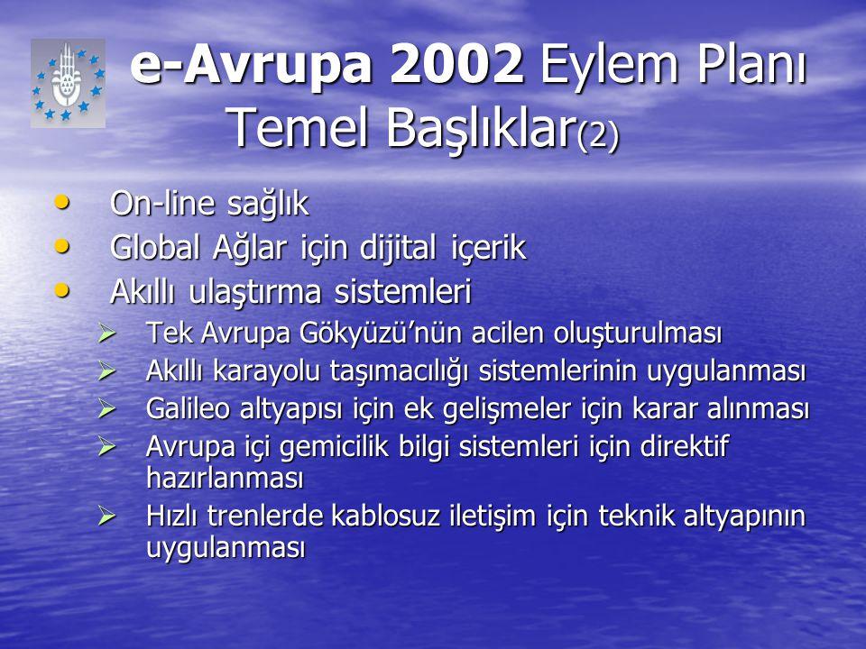e-Avrupa 2002 Eylem Planı Temel Başlıklar (2) e-Avrupa 2002 Eylem Planı Temel Başlıklar (2) On-line sağlık On-line sağlık Global Ağlar için dijital iç