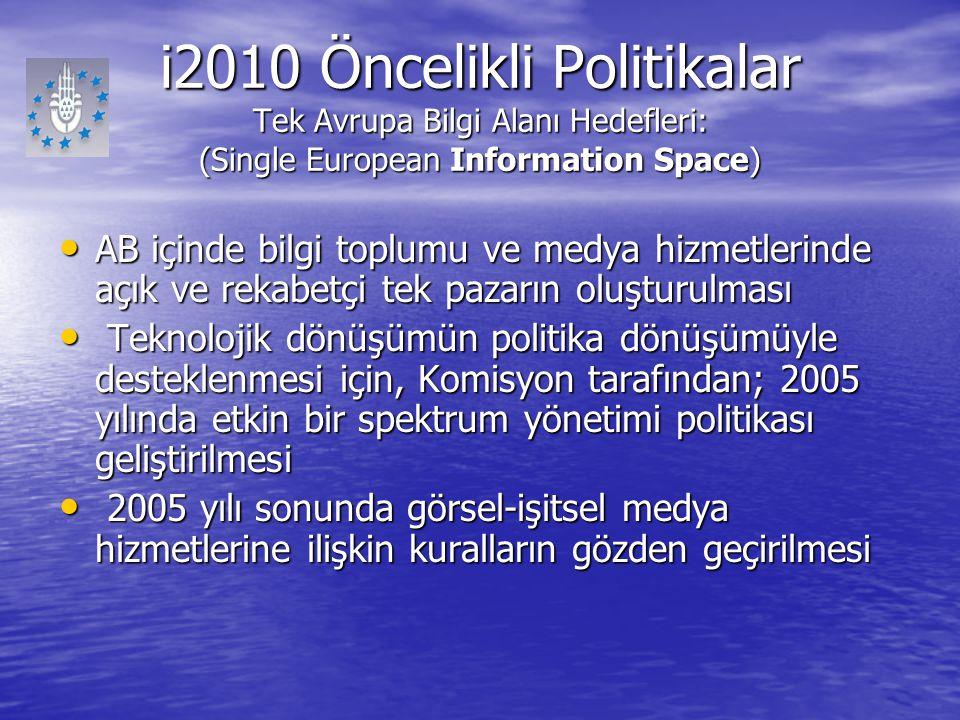 i2010 Öncelikli Politikalar Tek Avrupa Bilgi Alanı Hedefleri: (Single European Information Space) AB içinde bilgi toplumu ve medya hizmetlerinde açık