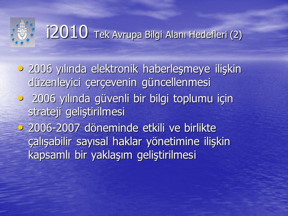 i2010 Tek Avrupa Bilgi Alanı Hedefleri (2) 2006 yılında elektronik haberleşmeye ilişkin düzenleyici çerçevenin güncellenmesi 2006 yılında elektronik h