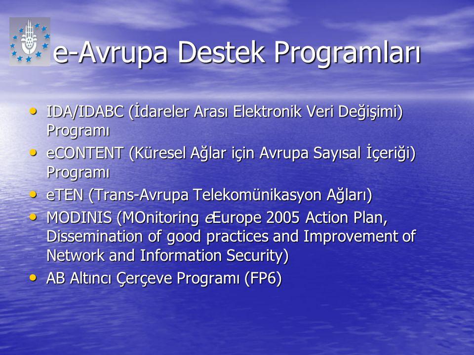 e-Avrupa Destek Programları IDA/IDABC (İdareler Arası Elektronik Veri Değişimi) Programı IDA/IDABC (İdareler Arası Elektronik Veri Değişimi) Programı