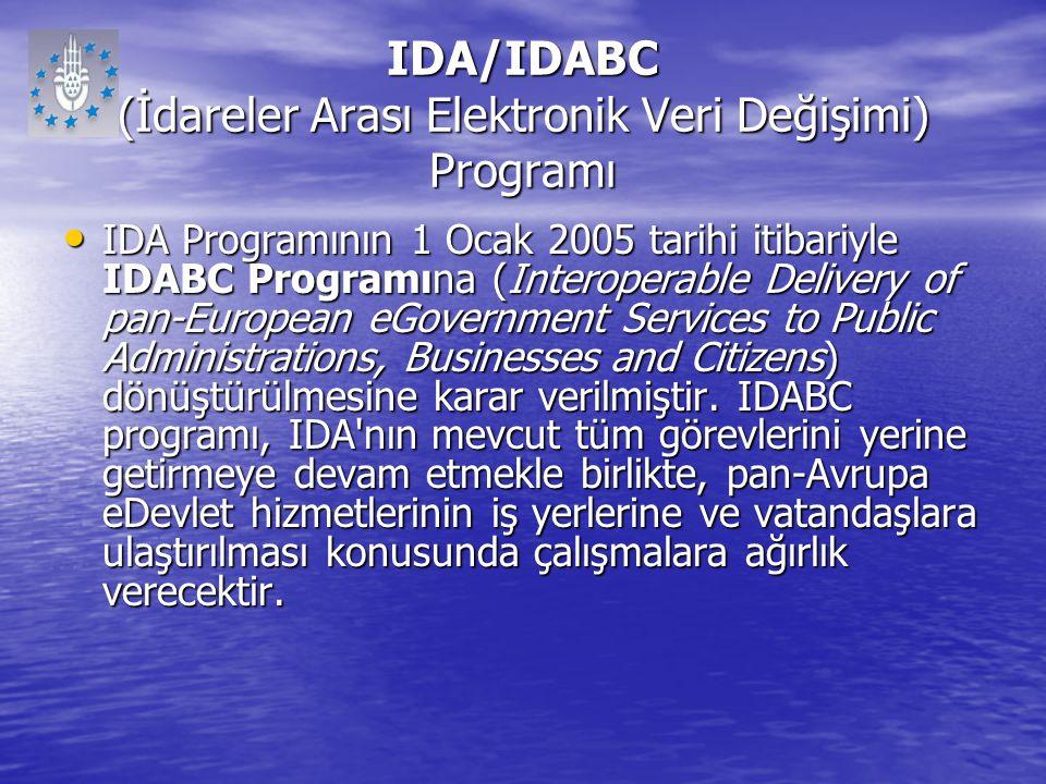 IDA/IDABC (İdareler Arası Elektronik Veri Değişimi) Programı IDA Programının 1 Ocak 2005 tarihi itibariyle IDABC Programına (Interoperable Delivery of