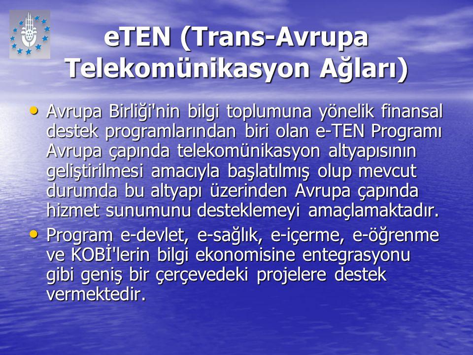eTEN (Trans-Avrupa Telekomünikasyon Ağları) Avrupa Birliği'nin bilgi toplumuna yönelik finansal destek programlarından biri olan e-TEN Programı Avrupa