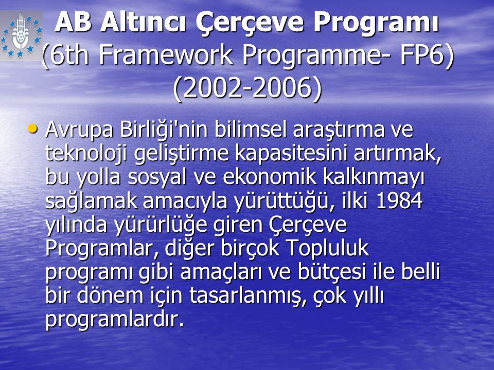 AB Altıncı Çerçeve Programı (6th Framework Programme- FP6) (2002-2006) Avrupa Birliği'nin bilimsel araştırma ve teknoloji geliştirme kapasitesini artı