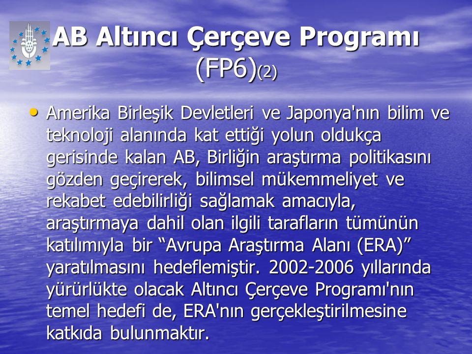 AB Altıncı Çerçeve Programı (FP6) (2) Amerika Birleşik Devletleri ve Japonya'nın bilim ve teknoloji alanında kat ettiği yolun oldukça gerisinde kalan