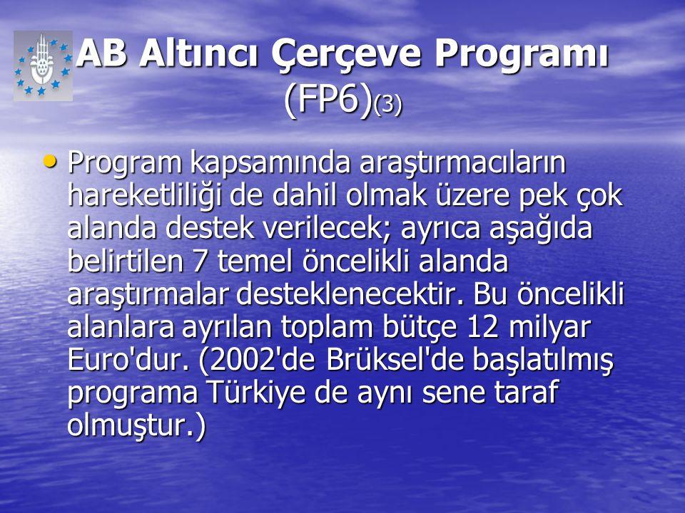AB Altıncı Çerçeve Programı (FP6) (3) Program kapsamında araştırmacıların hareketliliği de dahil olmak üzere pek çok alanda destek verilecek; ayrıca a