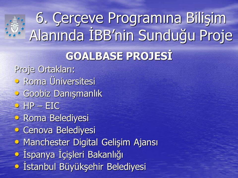 6. Çerçeve Programına Bilişim Alanında İBB'nin Sunduğu Proje GOALBASE PROJESİ Proje Ortakları: Roma Üniversitesi Roma Üniversitesi Goobiz Danışmanlık