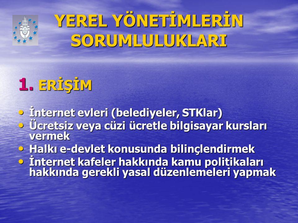YEREL YÖNETİMLERİN SORUMLULUKLARI 1. ERİŞİM İnternet evleri (belediyeler, STKlar) İnternet evleri (belediyeler, STKlar) Ücretsiz veya cüzi ücretle bil