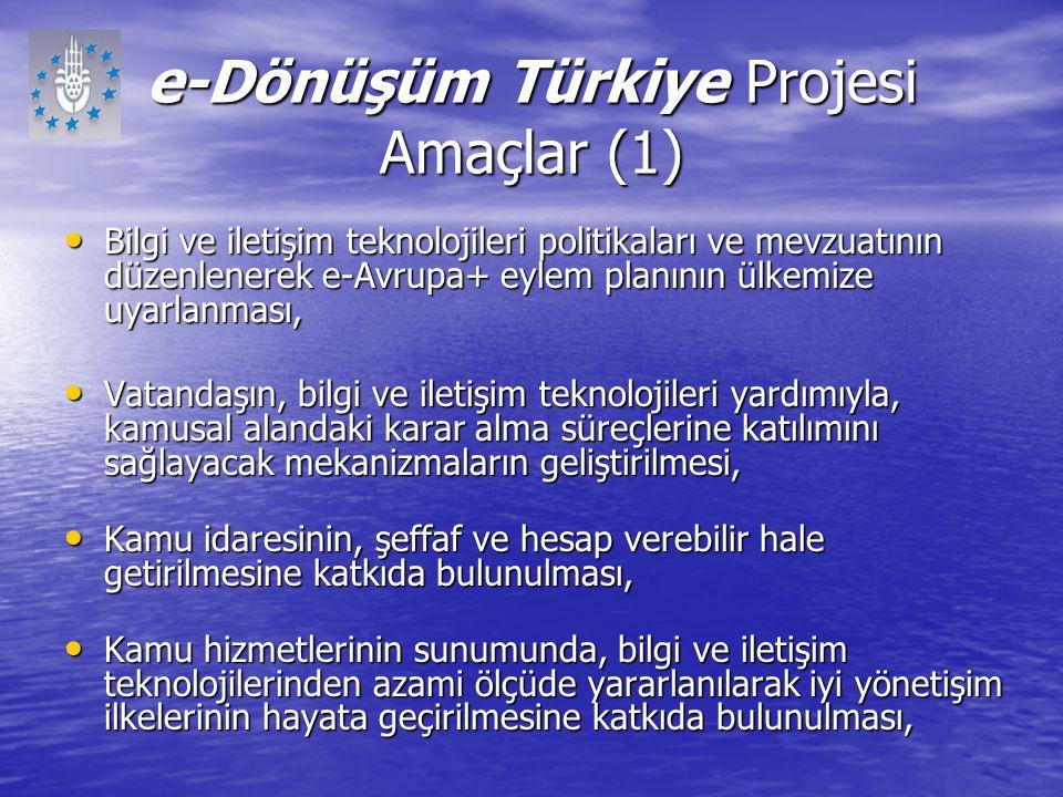 e-Dönüşüm Türkiye Projesi Amaçlar (1) Bilgi ve iletişim teknolojileri politikaları ve mevzuatının düzenlenerek e-Avrupa+ eylem planının ülkemize uyarl