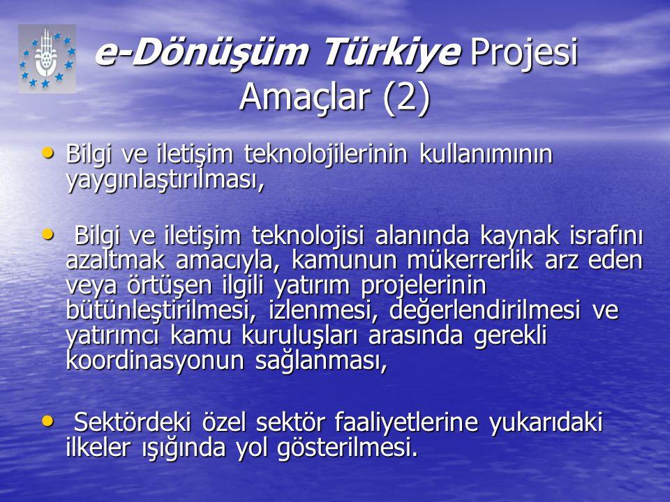 e-Dönüşüm Türkiye Projesi Amaçlar (2) Bilgi ve iletişim teknolojilerinin kullanımının yaygınlaştırılması, Bilgi ve iletişim teknolojilerinin kullanımı