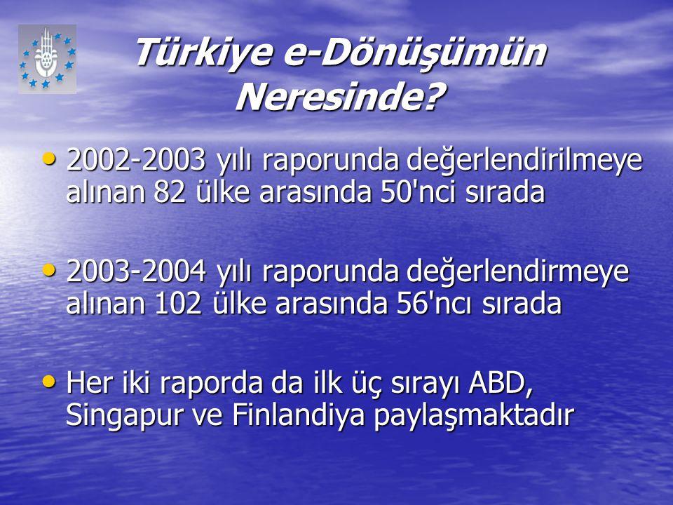 Türkiye e-Dönüşümün Neresinde? 2002-2003 yılı raporunda değerlendirilmeye alınan 82 ülke arasında 50'nci sırada 2002-2003 yılı raporunda değerlendiril