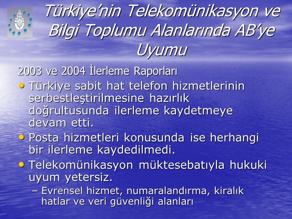 Türkiye'nin Telekomünikasyon ve Bilgi Toplumu Alanlarında AB'ye Uyumu 2003 ve 2004 İlerleme Raporları Türkiye sabit hat telefon hizmetlerinin serbestl