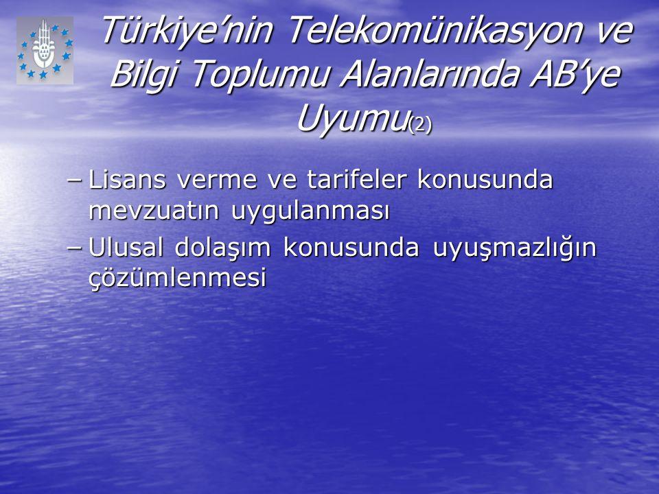 Türkiye'nin Telekomünikasyon ve Bilgi Toplumu Alanlarında AB'ye Uyumu (2) – Lisans verme ve tarifeler konusunda mevzuatın uygulanması – Ulusal dolaşım