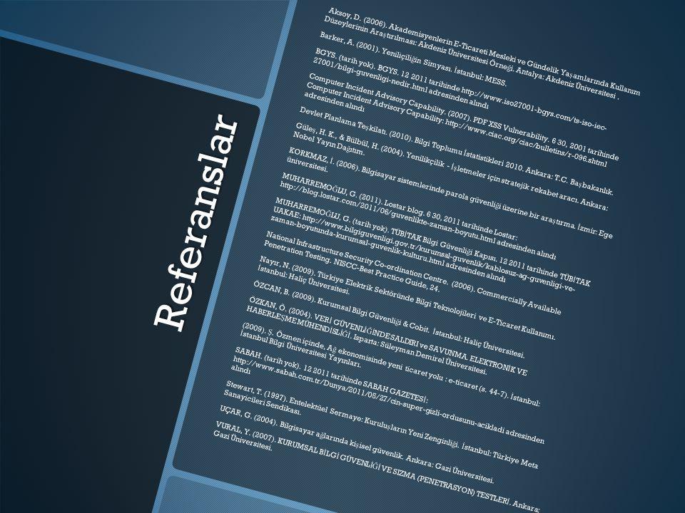 Referanslar Aksoy, D. (2006). Akademisyenlerin E-Ticareti Mesleki ve Gündelik Ya ş amlarında Kullanım Düzeylerinin Ara ş tırılması: Akdeniz Üniversite